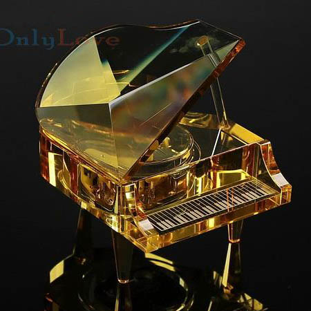 crystal grand piano orange color music box music gift christmas gifts new year gifts. Black Bedroom Furniture Sets. Home Design Ideas